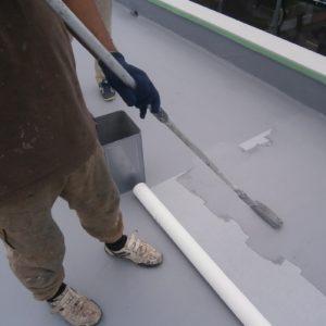 屋根防水補強メッシュ貼り付け